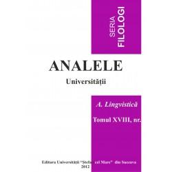 Analele USV- Seria Filologie, A. Lingvistică, Tomul XVIII, Nr 1, 2012