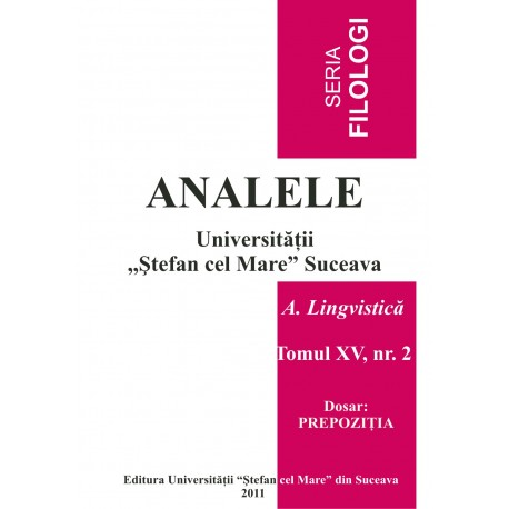 Analele USV- Seria Filologioe, A. Lingvistică, Tomul XV, Nr 2, 2009