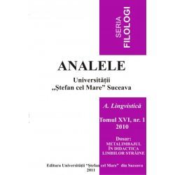 Analele USV- Seria Filologioe, A. Lingvistică, Tomul XVI, Nr 1, 2010